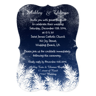 "Elegant Navy Blue Branch Snowflake Winter Wedding 5"" X 7"" Invitation Card"