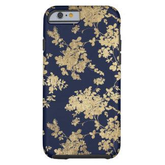 Elegant navy blue faux gold vintage flowers tough iPhone 6 case