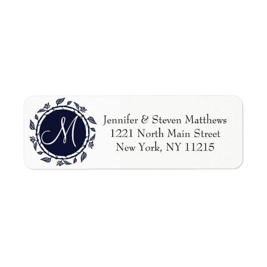Elegant Navy Blue Floral Wreath Monogram Return Address Label