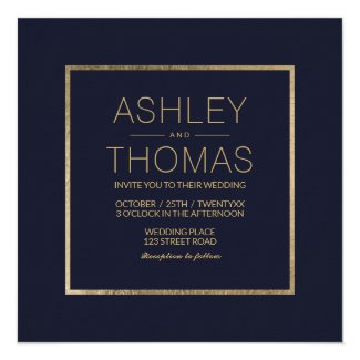 Elegant navy blue gold chic square wedding card