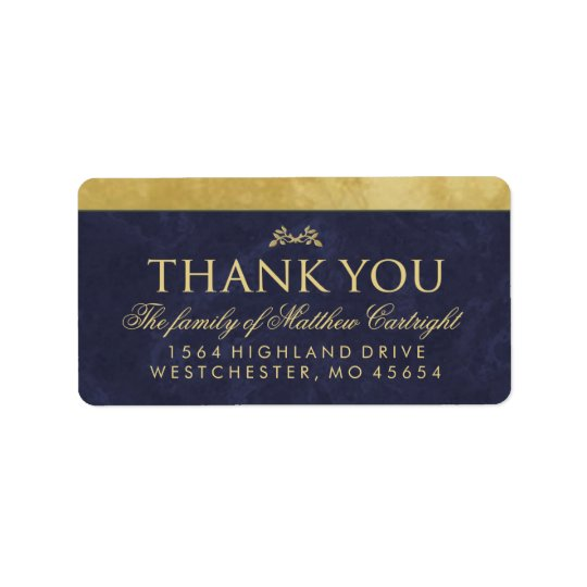 Elegant Navy Blue & Gold Family Thank You Label