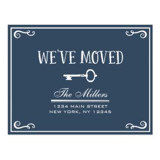 Elegant Navy Blue Key Moving Announcement Postcard