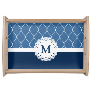 Elegant Navy Blue Lace Pattern - Custom Monogram Serving Tray