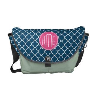 Elegant Navy Blue Quatrefoil with Pink Monogram Commuter Bag