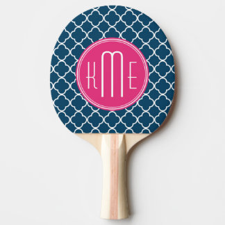 Elegant Navy Blue Quatrefoil with Pink Monogram Ping-Pong Paddle