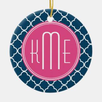 Elegant Navy Blue Quatrefoil with Pink Monogram Round Ceramic Ornament