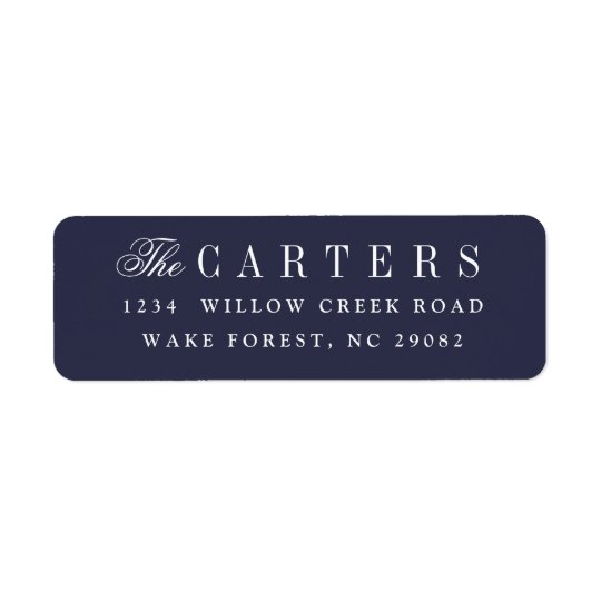 Elegant navy blue return address label