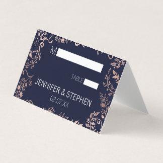 Elegant Navy Blue Rose Gold Floral Place Cards