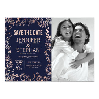 "Elegant Navy Blue Rose Gold Floral Save the Dates 5"" X 7"" Invitation Card"