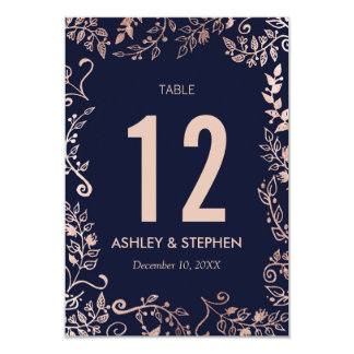 Elegant Navy Blue Rose Gold Floral Table Numbers Card