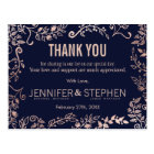 Elegant Navy Blue Rose Gold Floral Thank Yous Postcard