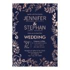 Elegant Navy Blue Rose Gold Floral Wedding Invites