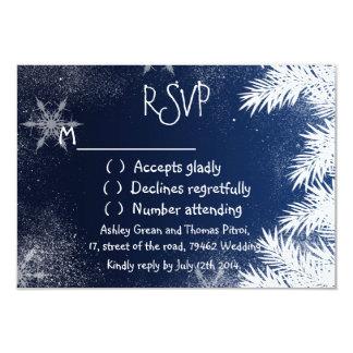 Elegant Navy Blue Snowflake Winter RSVP Wedding Card