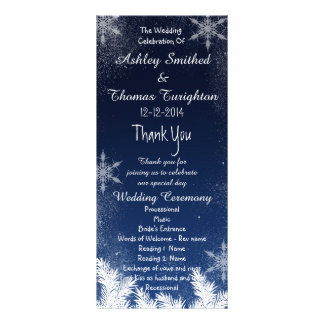 Elegant Navy Blue Snowflake Winter Wedding Program