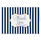 Elegant Navy Blue Stripe Thank You Card