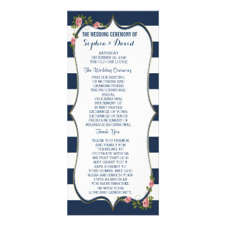 Elegant Navy Blue Stripes Wedding Ceremony Program