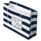 Elegant Navy Blue Stripes Wedding Custom Bag