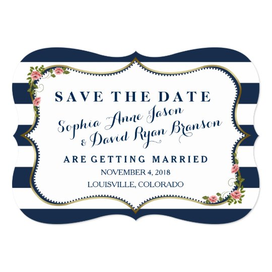 Elegant Navy Blue Stripes Wedding Save The Date Card