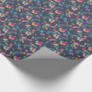 Elegant Navy Blue w/ Purple Gold Floral Gift Wrap