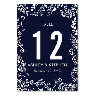 Elegant Navy Blue White Floral Table Numbers