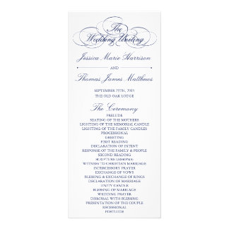 Elegant Navy Blue & White Wedding Program Template