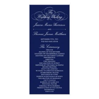 Elegant Navy Blue & White Wedding Program Template