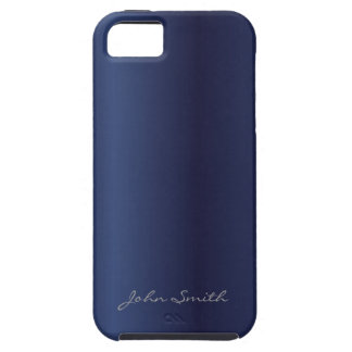 Elegant Navy Blue with Custom Name iPhone 5 Cover