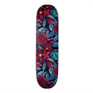 Elegant Navy Burgundy Christmas Floral Watercolor Skateboard