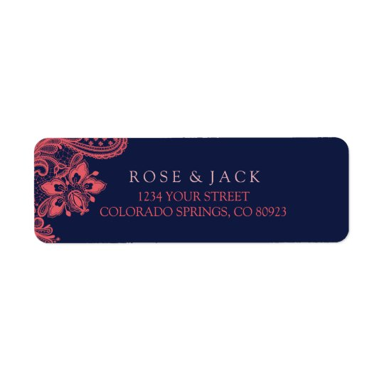 Elegant Navy & Coral Wedding Address Labels