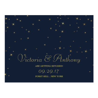 Elegant Navy & Gold Falling Stars Save The Date Postcard