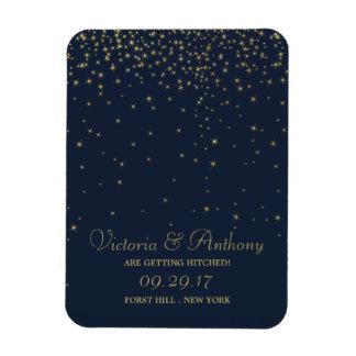 Elegant Navy & Gold Falling Stars Save The Date Rectangular Photo Magnet
