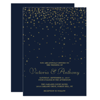 Elegant Navy & Gold Falling Stars Wedding Card