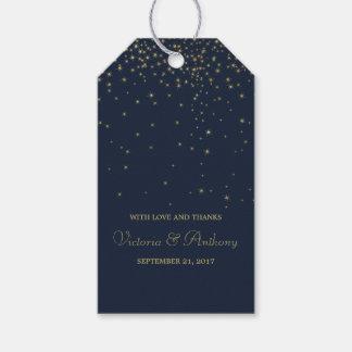 Elegant Navy & Gold Falling Stars Wedding Favor Pack Of Gift Tags