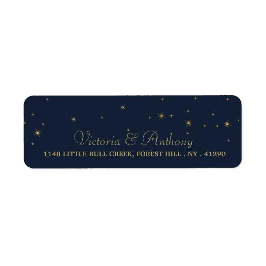 Elegant Navy & Gold Falling Stars Wedding Return Address Label