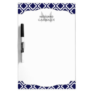 Elegant Navy Moroccan Quatrefoil Personalized Dry-Erase Whiteboard
