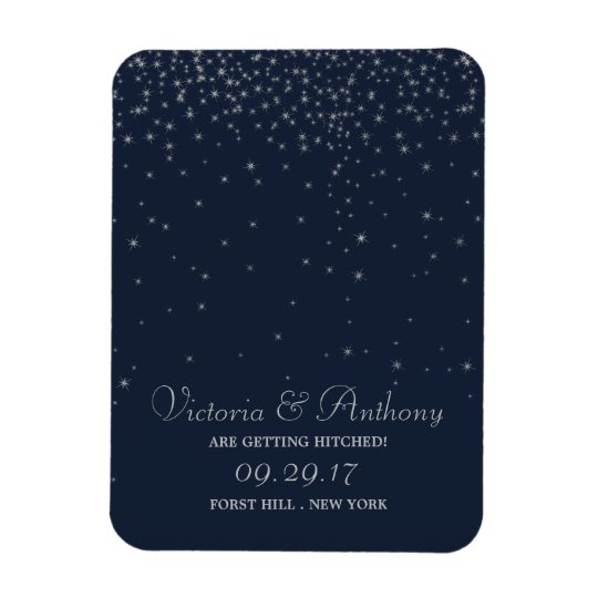 Elegant Navy & Silver Falling Stars Save The Date Magnet