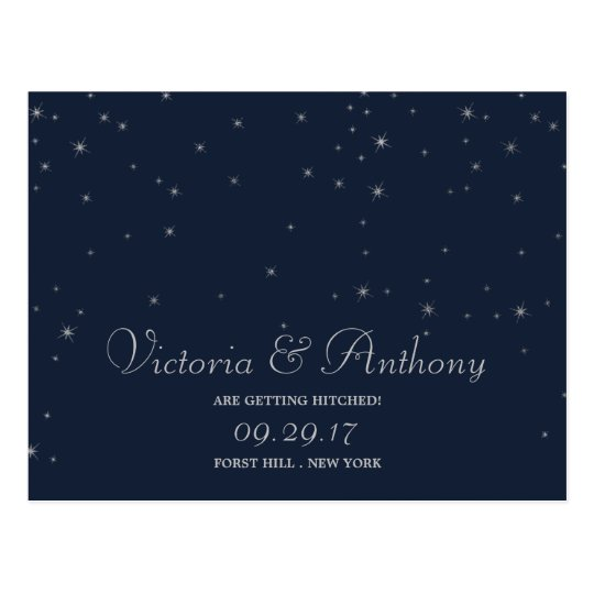 Elegant Navy & Silver Falling Stars Save The Date Postcard