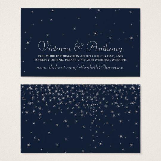 Elegant Navy & Silver Falling Stars Wedding Business Card