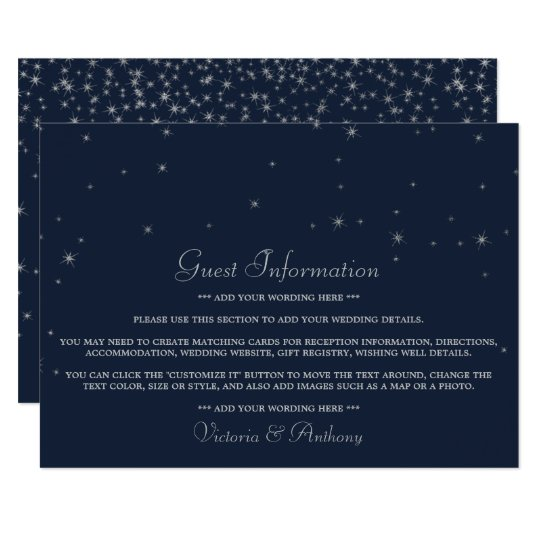 Elegant Navy & Silver Falling Stars Wedding Detail Card