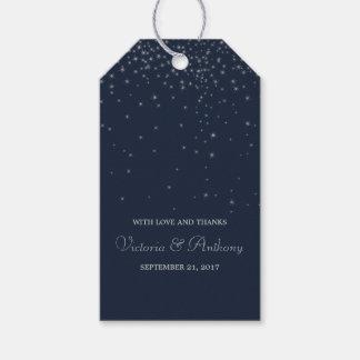 Elegant Navy & Silver Falling Stars Wedding Favour Gift Tags