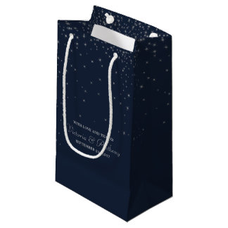 Elegant Navy & Silver Falling Stars Wedding Favour Small Gift Bag