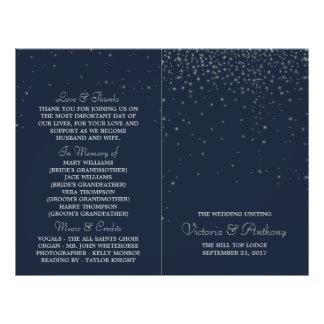 Elegant Navy & Silver Falling Stars Wedding Flyer