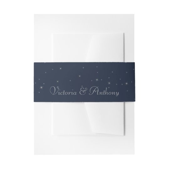 Elegant Navy & Silver Falling Stars Wedding Invitation Belly Band