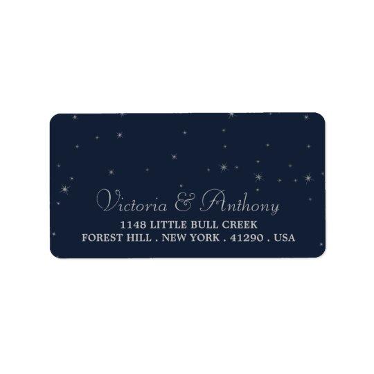 Elegant Navy & Silver Falling Stars Wedding Label