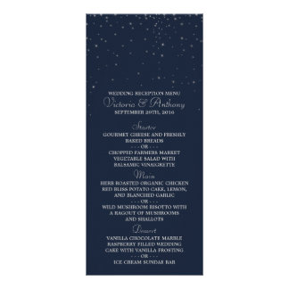 Elegant Navy & Silver Falling Stars Wedding Menu