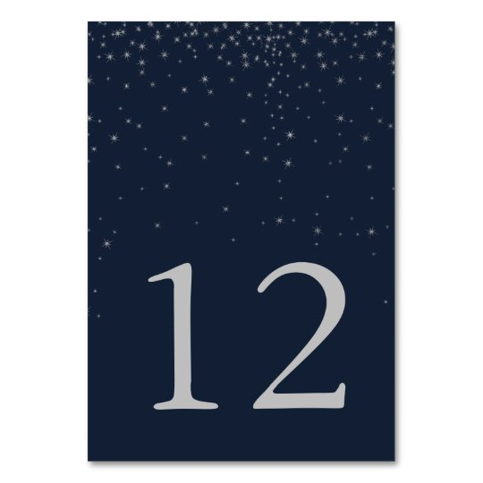 Elegant Navy & Silver Falling Stars Wedding Number Card