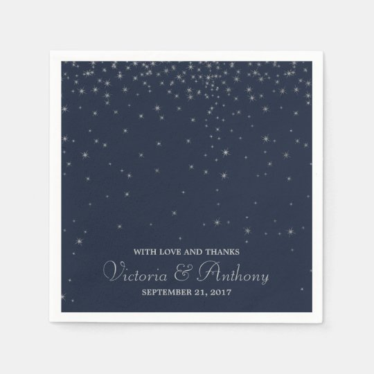 Elegant Navy & Silver Falling Stars Wedding Paper Napkin