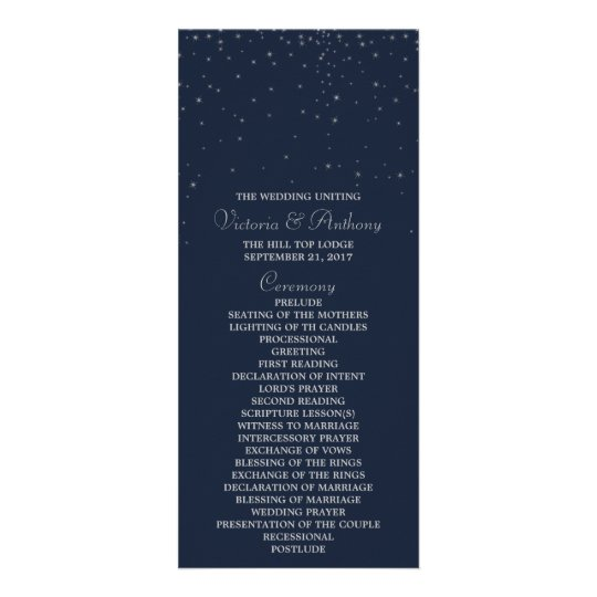 Elegant Navy & Silver Falling Stars Wedding Rack Card