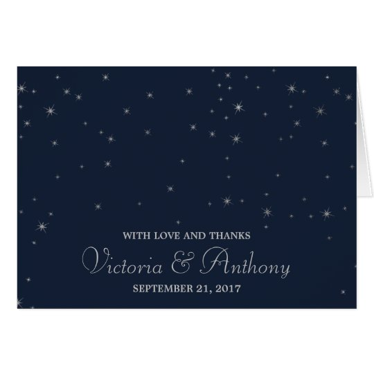 Elegant Navy & Silver Falling Stars Wedding Thanks Card