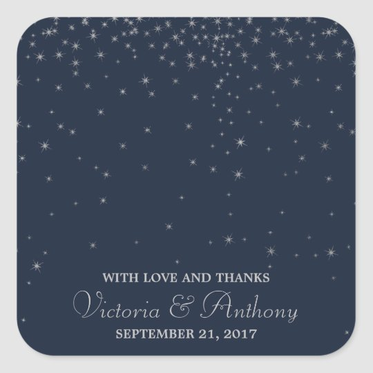 Elegant Navy & Silver Falling Stars Wedding Thanks Square Sticker